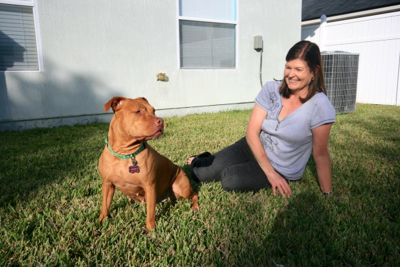 Gracie with her new mom.